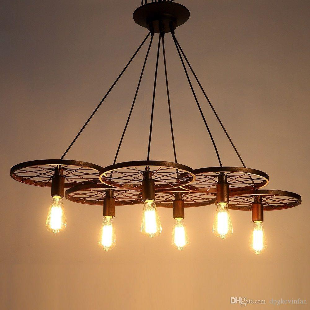 Discount Metal Retro Ceiling Lamp Light 6 Wheel Pendant Edison Bulb Industrial Chandelier Living Room Dining Study Lighting Glass Ball