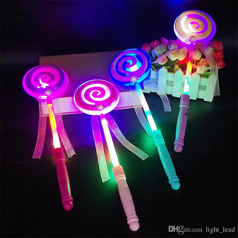 Moda niños LED Lollipop Glow Sticks Girls Princess intermitente Fairy Wand Sticks fiesta de cumpleaños vestido de decoración