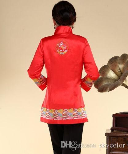 Traditionelle chinesische Frauen Stickerei Seide Jacke Mantel Cheongsam Größe 6 8 10 12 14 16 18 Rot Weiß Schwarz