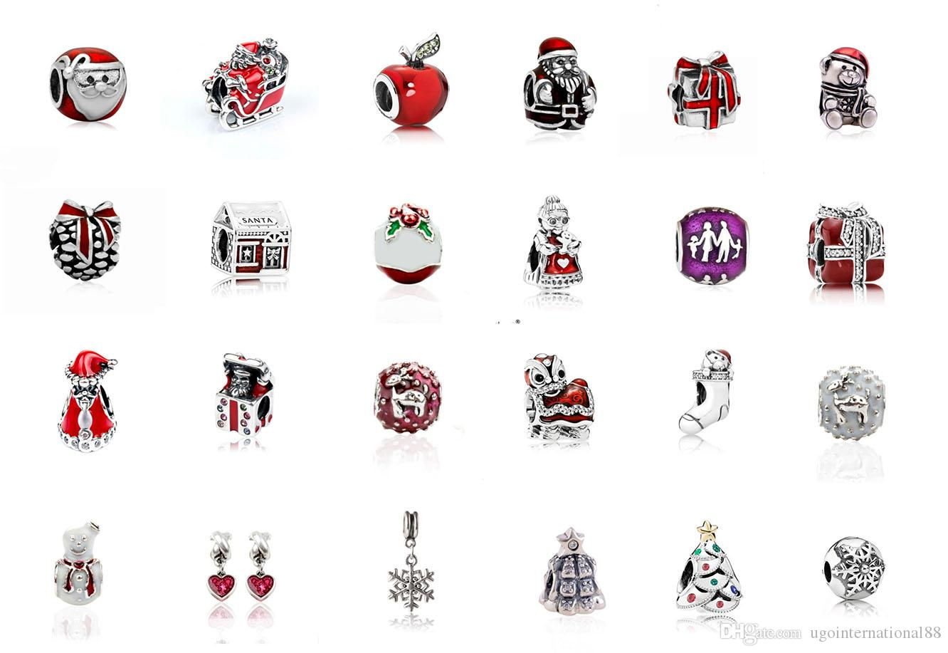fits pandora bracelets christmas charms silver enamel charm bead loose beads for wholesale diy european sterling necklace jewelry xmas silver charm beads
