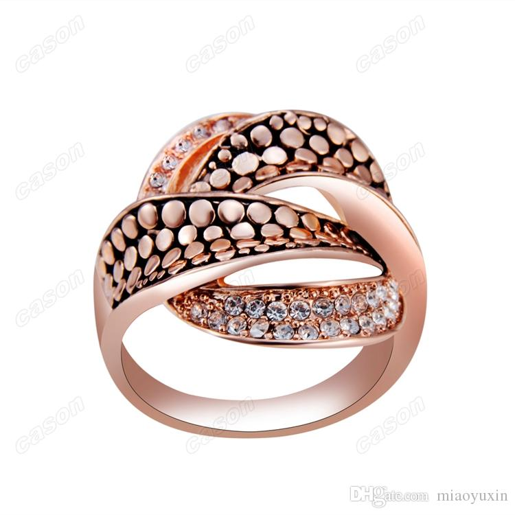 Marque Cason Femmes bijoux de mode Twisted anneau de cristal pour les femmes 18 K or plaqué livraison gratuite or RJ-0031