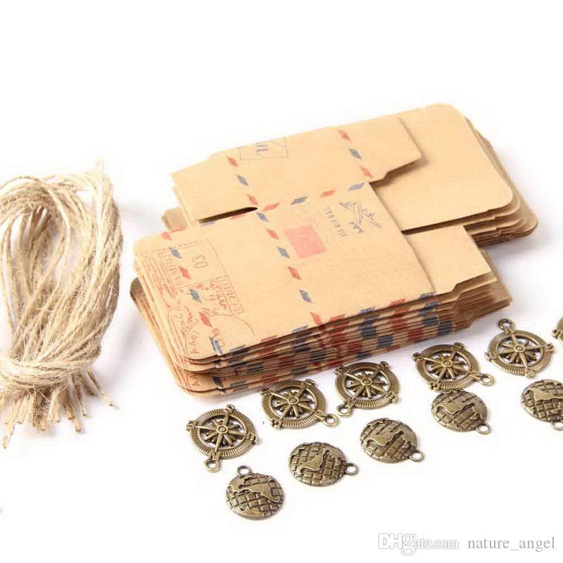 Старинные сувениры крафт-бумага конфеты коробка Почта тема самолет Воздушная почта подарочная упаковка коробка свадебные сувениры событие крафт-бумага упаковка