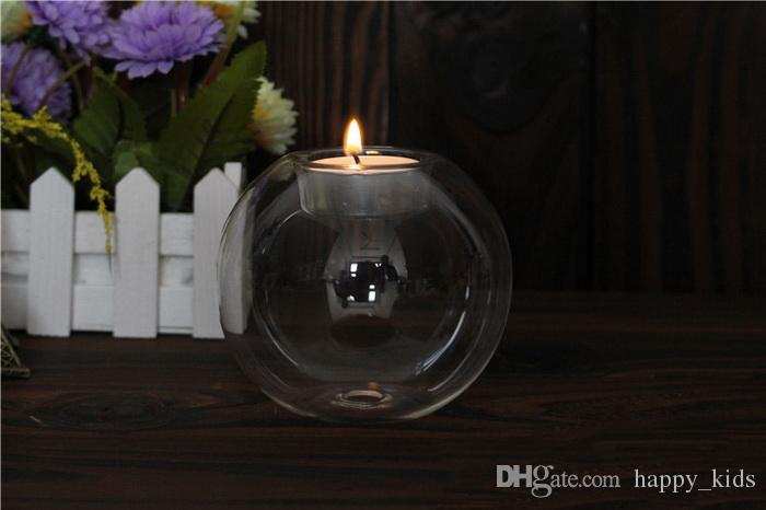 Glass Candle Holder White Black Glass Ball Tealight Candle Holder Home Decoration Wedding Décor Glass Candlestick European Round Transparent