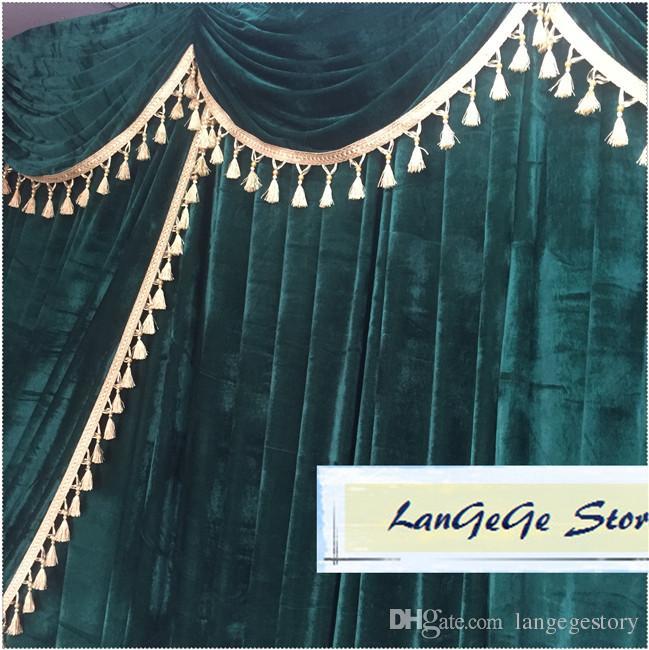Contextos de boda Royal Blue Velvet con adornos y borlas / Tela de terciopelo dorado Envío gratuito / 3 m * 3 m