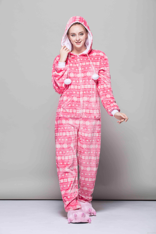 23e134380 Conjuntos de pijama de Mulheres cor de rosa Animal dos desenhos animados  sono cosplay Onesies Flanela adulto mulheres traje sleepwear tema animal  rosa ...