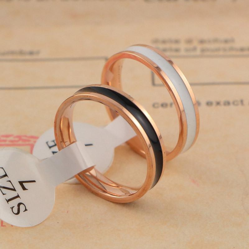 Luxury 18k Rose Gold Black White Ceramic Finger Rings Tail Ring