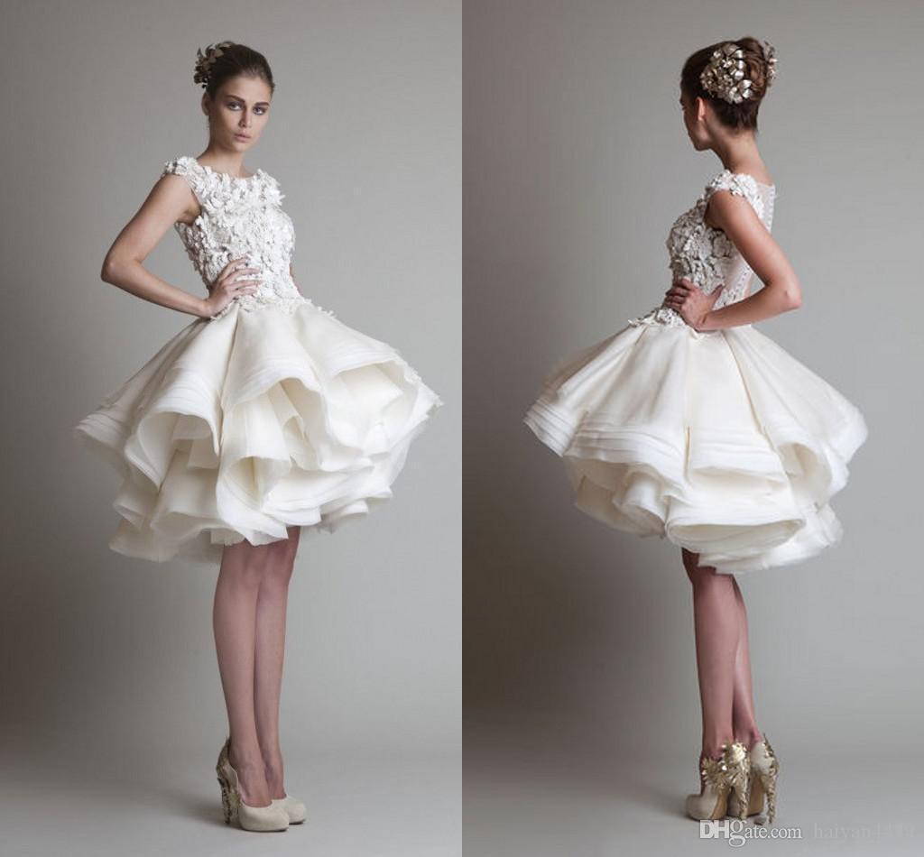 186af8b06384 Discount Krikor Jabotian Vintage 2016 Short Wedding Dresses Jewel Neck  Illusion Lace Appliques 3D Floral Tiered Ruffles Organza Plus Size Bridal  Gown ...