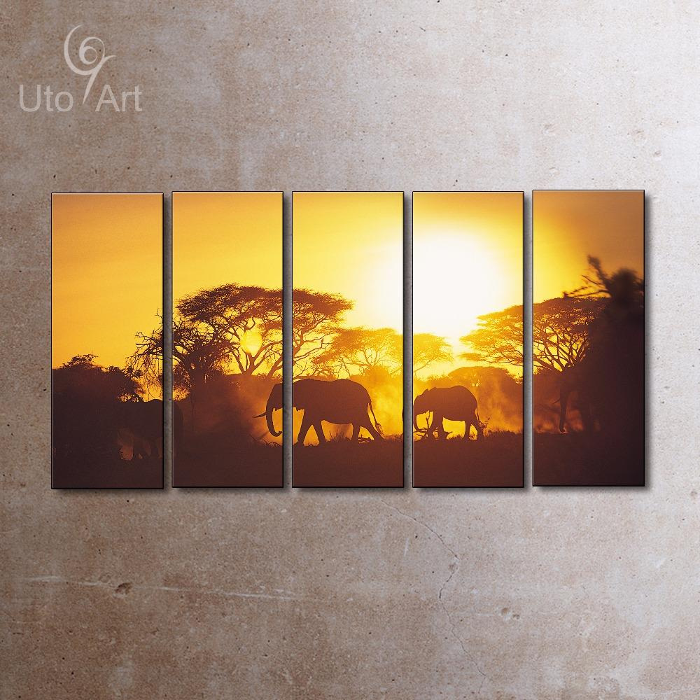 2018 Modern Irregular Large Sunset Elephant Painting Canvas Wall Art ...