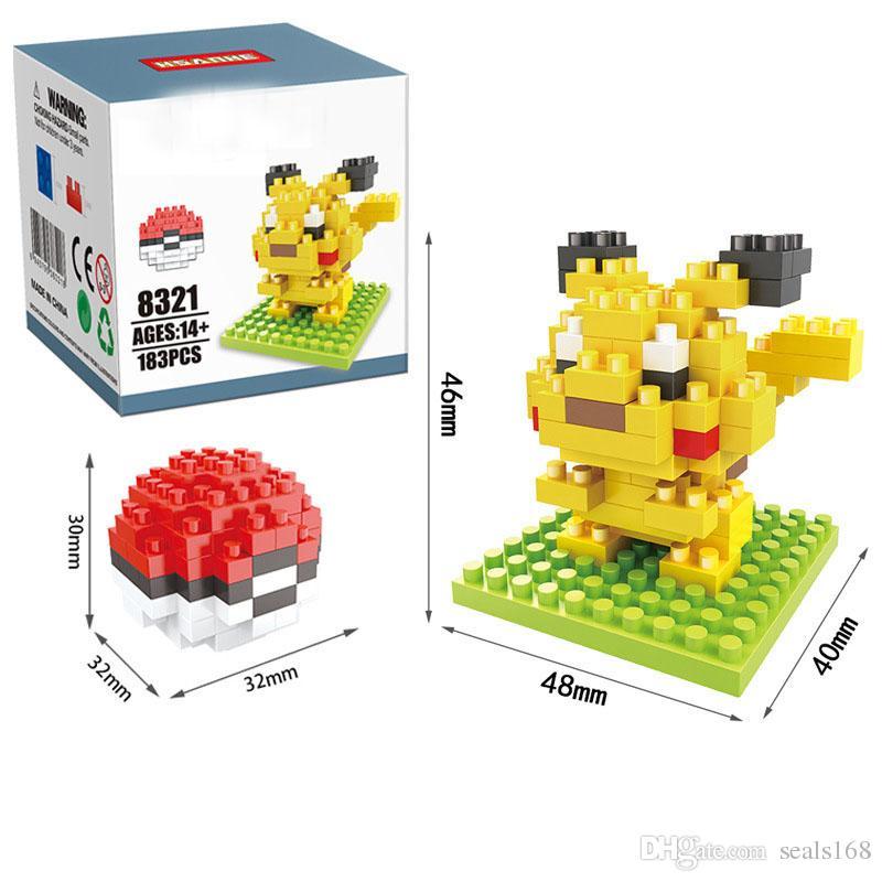 New Pok Pikachu Building Blocks FAI DA TE Mattoni di Diamanti Blocchi Bambini Bambini Intelligenza Del Bambino Particelle Educative Giocattoli Regali Box Confezione ZJ-B08
