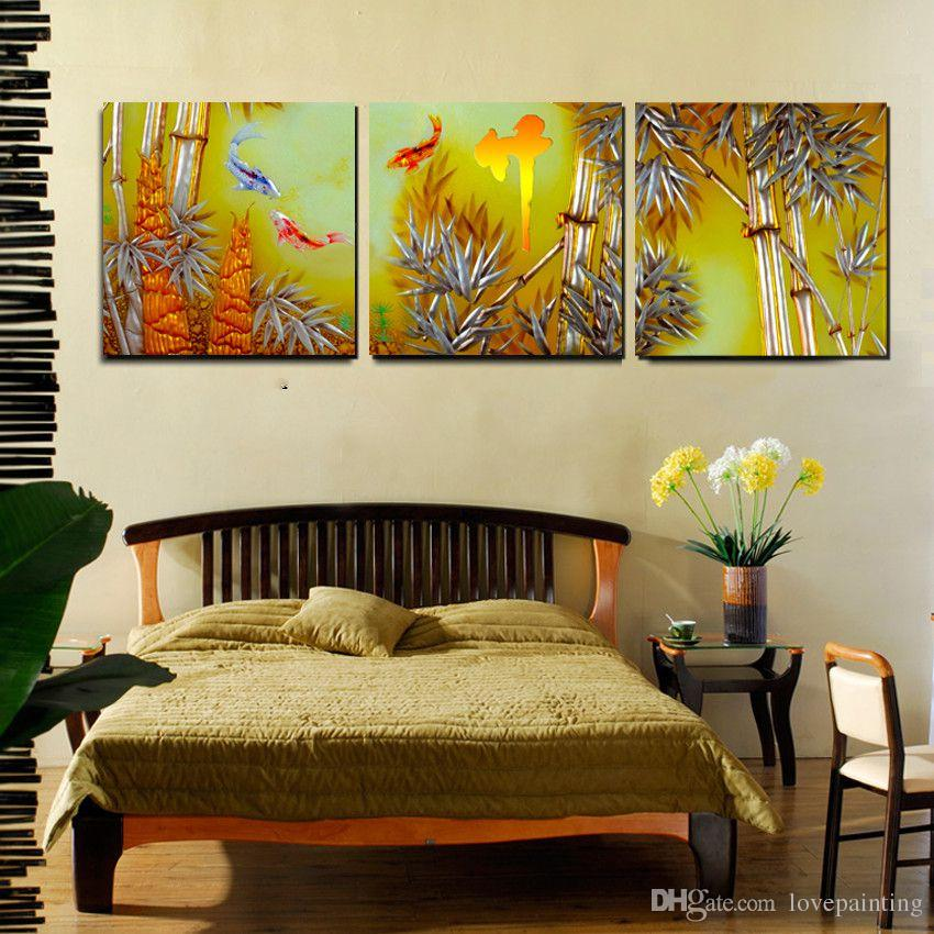 Wall decoration Unframed art picture Canvas Prints Lotus leaf fish Great Wall of China chinese characters peony branch flower