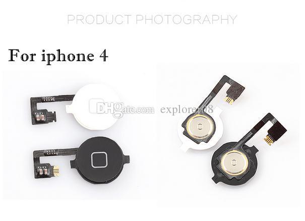Ana Menü Düğme Anahtar Kap Flex Kablo Braketi Tutucu Set Meclisi iPhone 4 4G 4 S CDMA Siyah Beyaz Yedek parça 100 Adet / grup