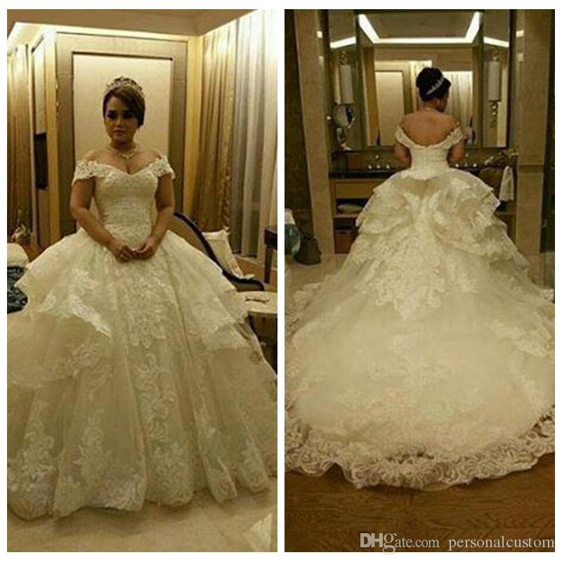 Off Shoulder Big Ball Gown Wedding Dresses Pleated Ruched Lace ...