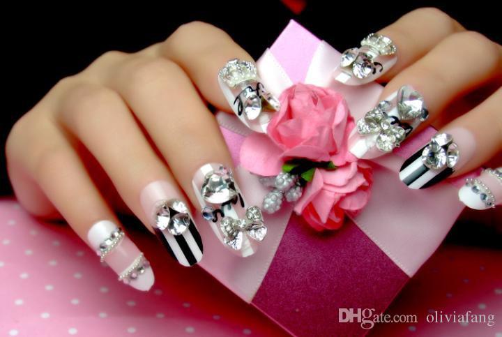 Long Style 3d Fake Nails Cute Pink Bride Nail Decoration Long Round ...