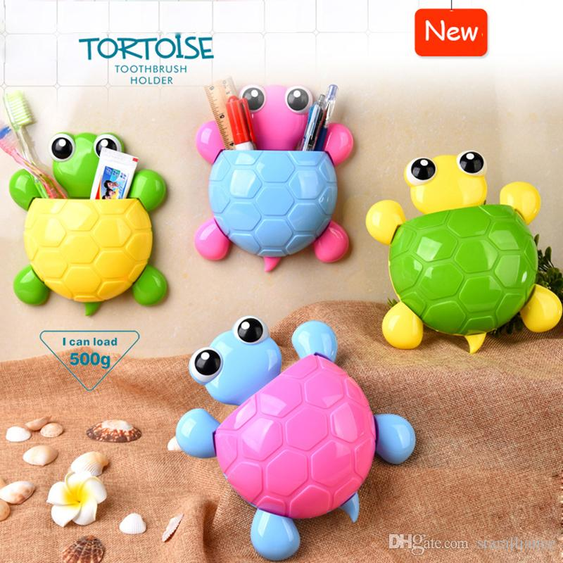 2017 2016 new design cute cartoon tortoise toothbrush holder multi purpose bathroom sucker hook kids pencil holder strong suction cup from staralliance - Multi Bathroom 2016