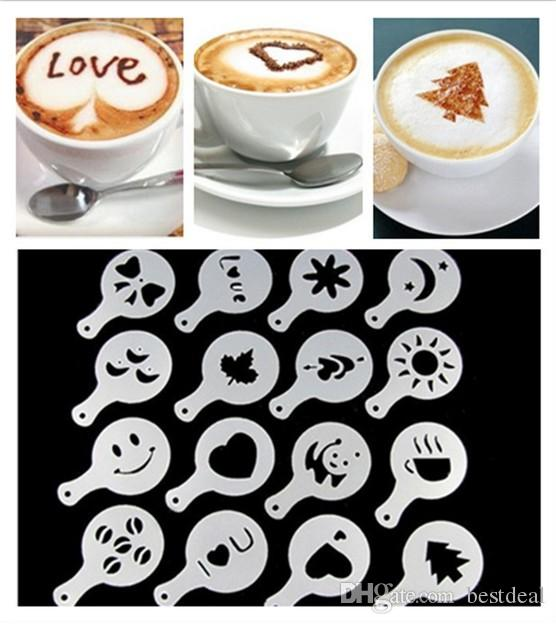 Coffee Latte Art Stencils DIY Decorating Cake Cappuccino Foam Tool Strew Pad Duster Spray Print Mold Coffee Health & Beauty Tools