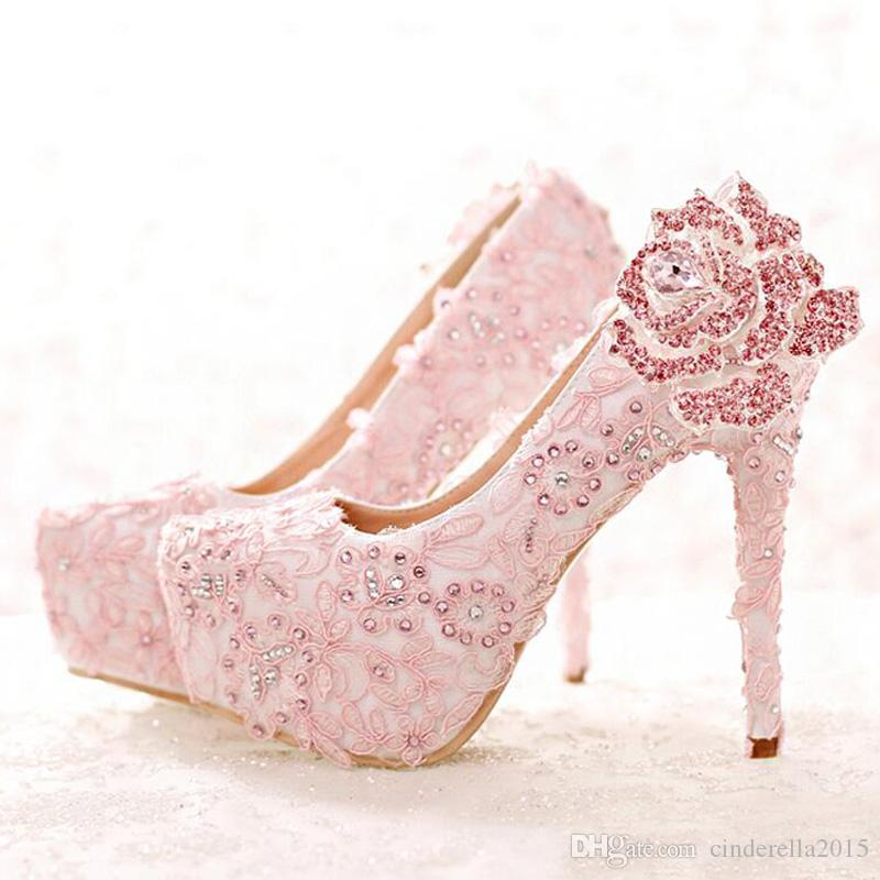 Fashion Pink Lace Bride Shoes Rhinestone Rose Flower High Heel Wedding Shoes  Platform Round Toe Princess Pumps Prom Shoes For The Bride Fuchsia Wedding  ... 404fa4030577