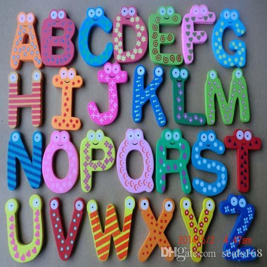 Kelimeler Dolabı mıknatıslar 26 adet / takım Çocuk Çocuk Ahşap Karikatür Alfabe Eğitim Öğrenme Oyuncaklar Yetişkin El Sanatları Ev Dekorasyonu HH-F02