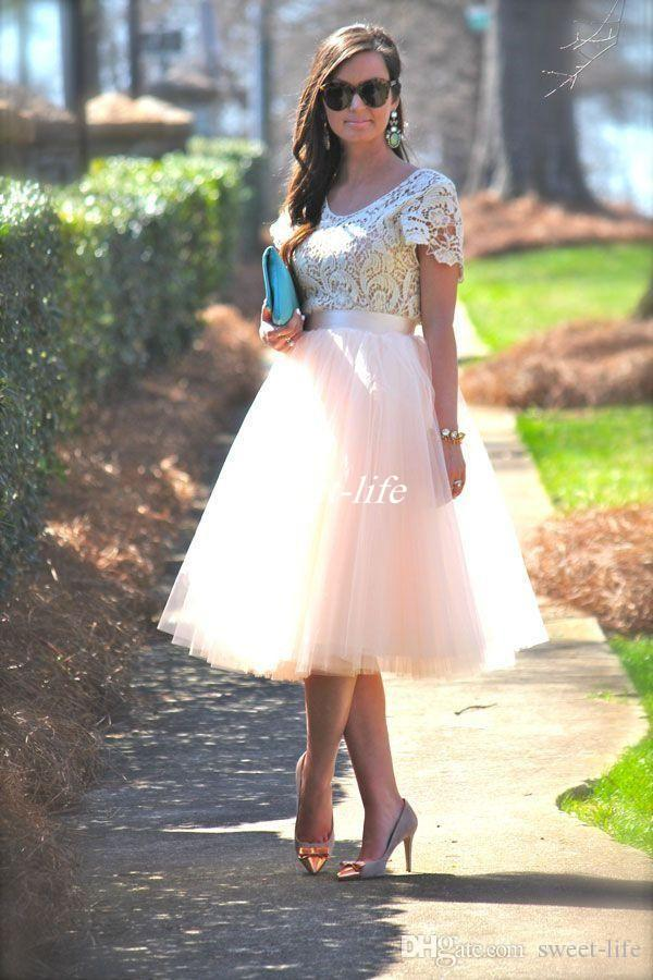 14a65097b91 Cheap Party Dresses With Short Sleeves Lace Top Pale Pink Tutu Skirts Tea  Length 2016 Formal Evening Gowns Mother Of The Bride Dress Plus Size Junior  Party ...