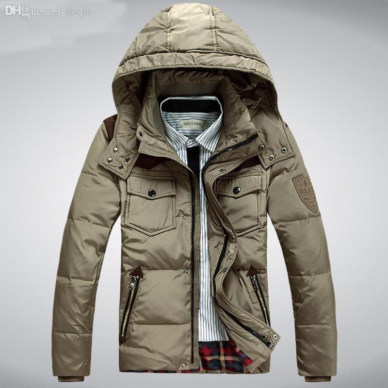 61cfd1a14830e 2019 Fall Men S Winter Jacket White Duck Down Men Coat Hood Thick Short Casual  Parkas Outwear Windproof Coats Plus Size M 3XL HJ401 From Sheju