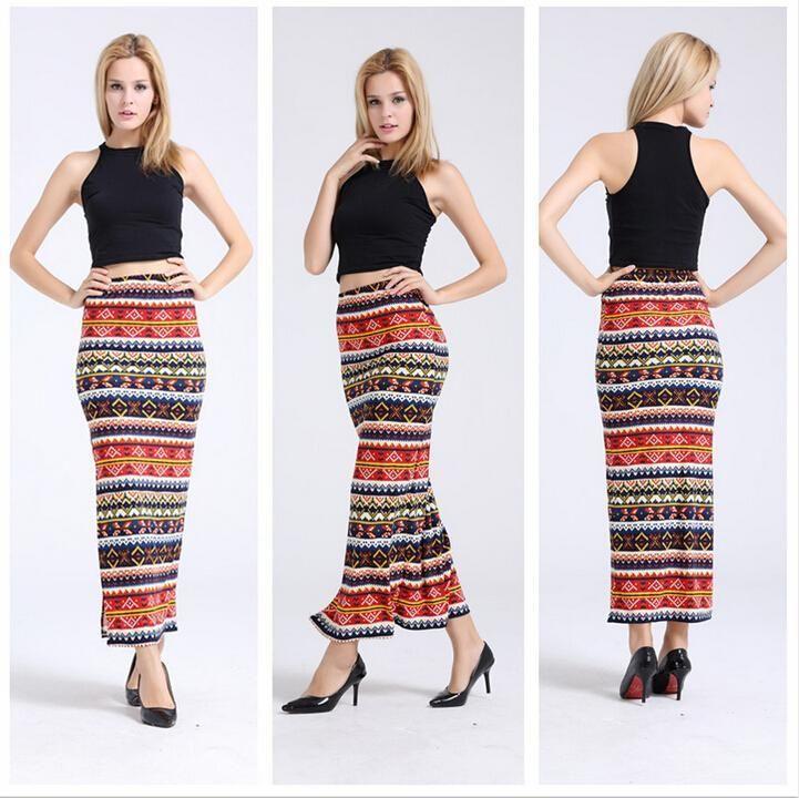 92e78f9eb Niza Nueva Moda Ropa de Mujer Retro Étnico Rojo Impreso Azteca Tilde Faldas  de Cintura Alta Sxey Maxi Falda Delgada Larga faldas de las mujeres