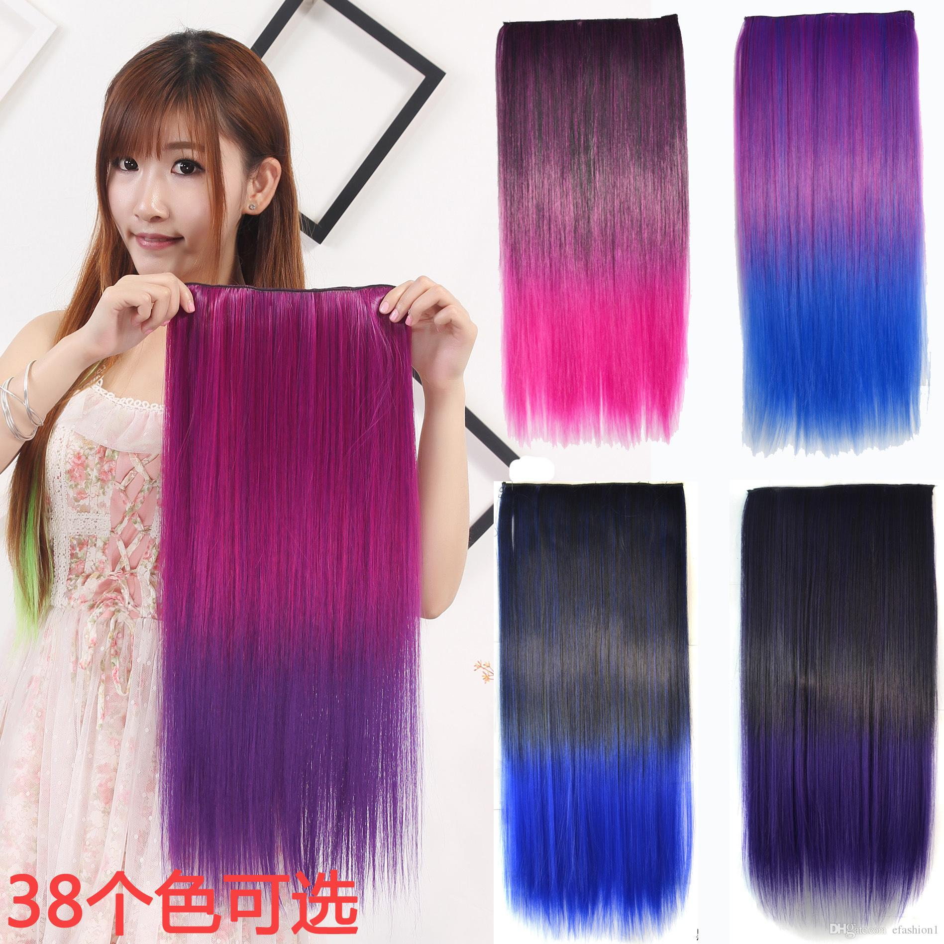 Clip In Hair Extensions Cosplay Sexy Color Gradient Straight Hair