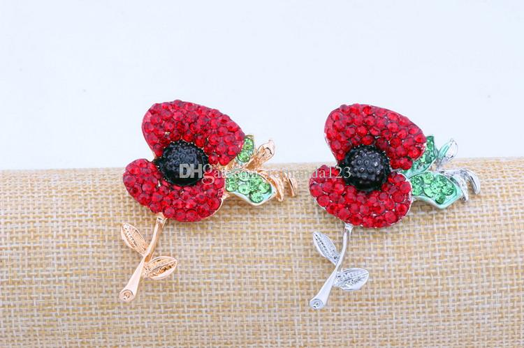 High quality Large Red Poppy Flower Brooch Pin Diamante Crystal Gold Silver Union Plated UK Remebrance Day Gift DHL