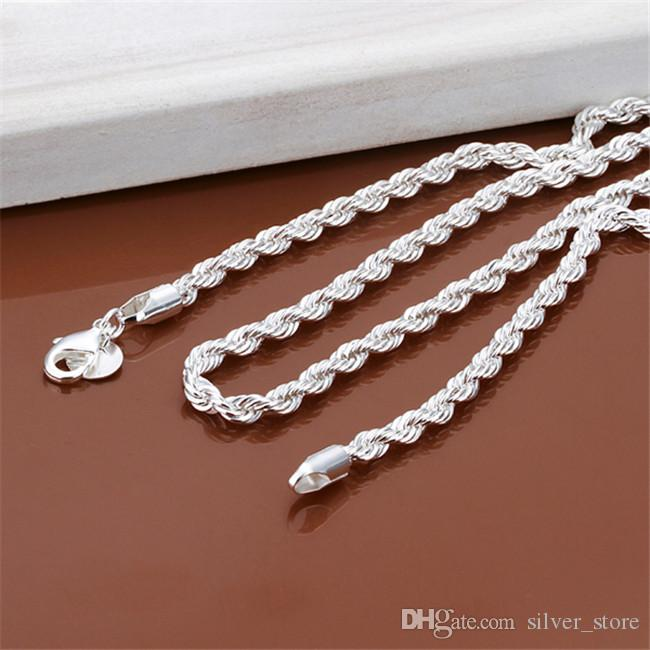 New arrival Flash twisted rope necklace Men sterling silver plate necklace STSN067,fashion 925 silver Chains necklace factory direct sale