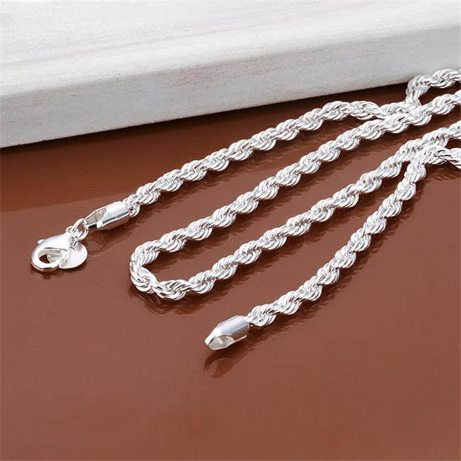 Nova chegada flash torcido corda colar homens esterlina placa de prata colar stsn067, moda 925 cadeias de prata colar fábrica venda direta
