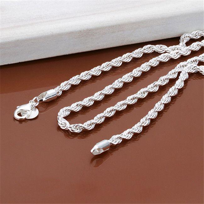 Yeni Varış Flaş Bükülmüş Halat Kolye Erkekler Gümüş Plaka Kolye STSN067, Moda 925 Gümüş Zincirler Kolye Fabrika Doğrudan Satış