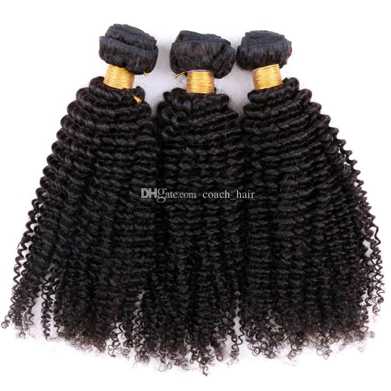 Unprocessed Brazilian Kinky Curly Virgin Hair With 13*4 Silk Base Frontal Afro Kinky Curly Hair Weave Bundles With Lace Frontal Closure