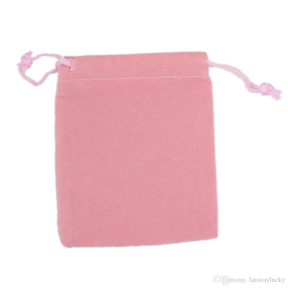 Velvet Drawstring Gift Bags Small Jewelry Pouches Christmas Wedding Favor holder Custom Printed logo Pink 7x9cm