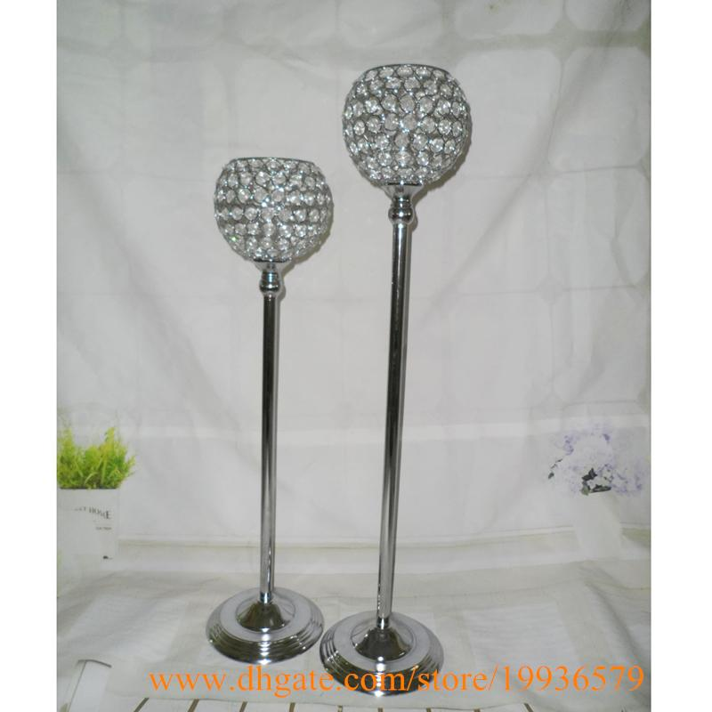 H23 in & 27 in Silver Gold Crystal Globe Votive Pillar Candle Holders With Metal Base Table for Wedding Centerpieces