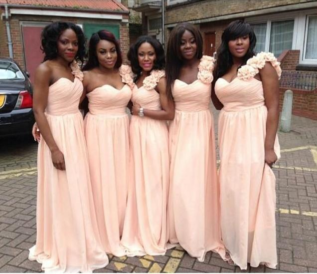 Long Bridesmaid Dresses 2016 Simple Baby Pink Cheap Chiffon Wedding Party Gowns One Shoulder Floor Length With Flowers Maid of Honor Dress