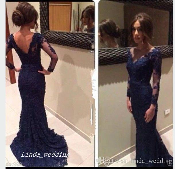 Superbe robe de bal bleue marine en dentelle de haute qualité Modest Sheer Long Sleeve Occasions spéciales Robe de soirée