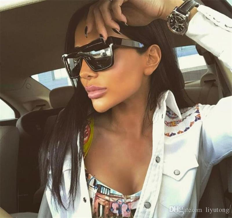 a5d0ee047a The Latest Large Square Sunglasses Women S Flat Top Luxury Brand Black  Silver Sunglasses Mirror Shadow Lunette Femme Oculos Vintage Sunglasses  Super ...