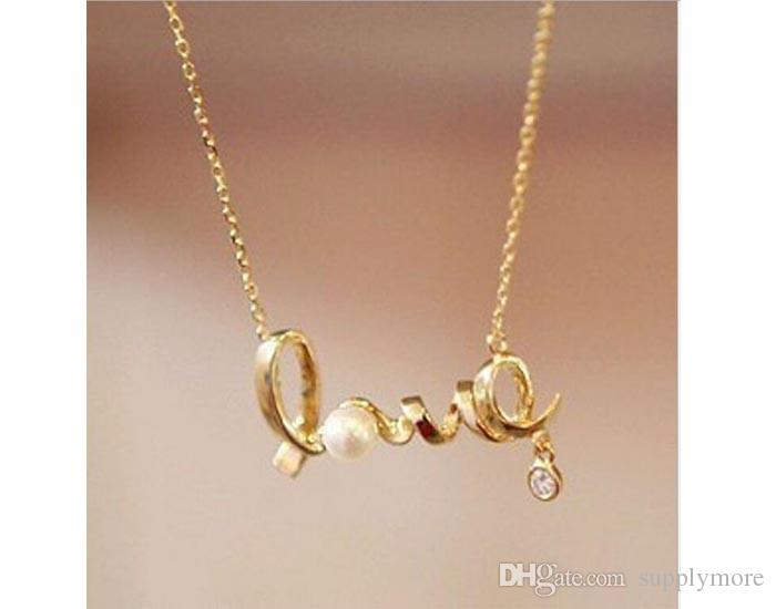 2016 New Pearl Crystal Pendant Necklaces LOVE Modern Charming Gold Chain For Womens Girls