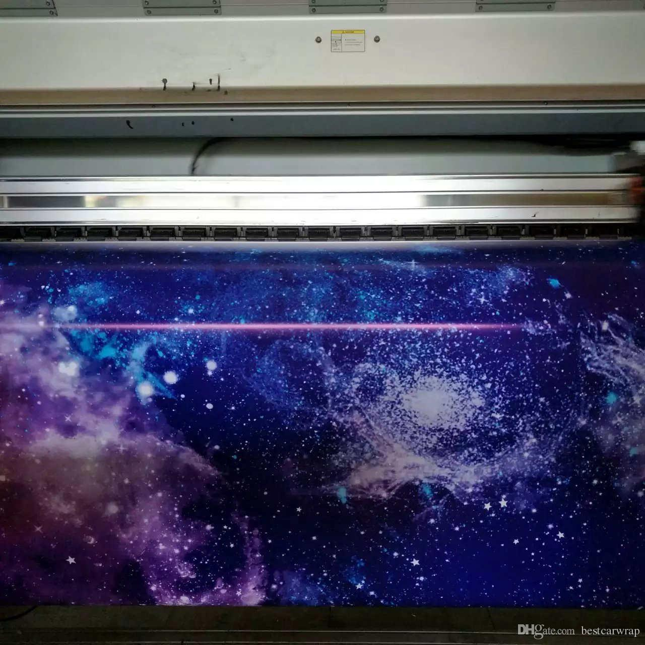2018 galaxy Vinyl Car Wrap Film With Air Free wrap foil printed vinyl Truck wrap stickers whole car covering foil 1.52x30mRoll