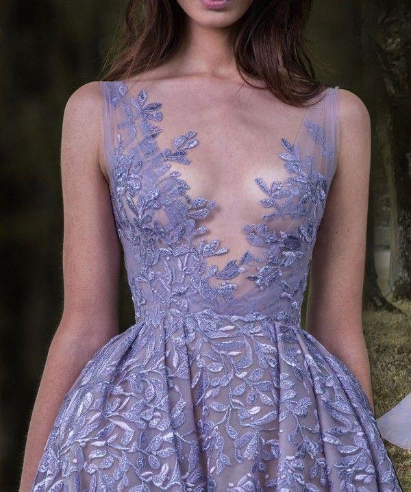 Lavanta Paolo Sebastian 2017 Gelinlik Modelleri Tam Yaprak Aplike Elbise Akşam Aşınma Sheer Boyun Kolsuz Vintage Uzun Örgün Parti Törenlerinde