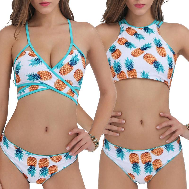 4d0095ec3b2 2019 New Brazilian Bikinis Women Swimwear Cute Pineapple Push Up Bikini Set  Strappy Bandage Swimsuit Cropped Bathing Suit Beach Wear From Swimwear2016