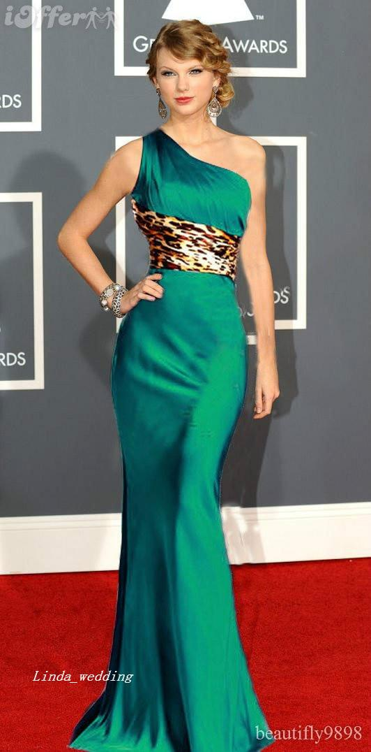 Free Shipping new arrival unique emerald green one shoulder red carpet evening dress gown with leopard sash