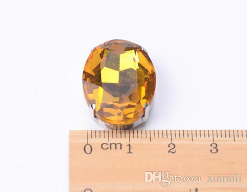 expédition gratuite! fantaisie 18 * 25mm / coudre ovale sur perles de cristal avec sertissage griffe en métal, boutons de pierre de perles de couture