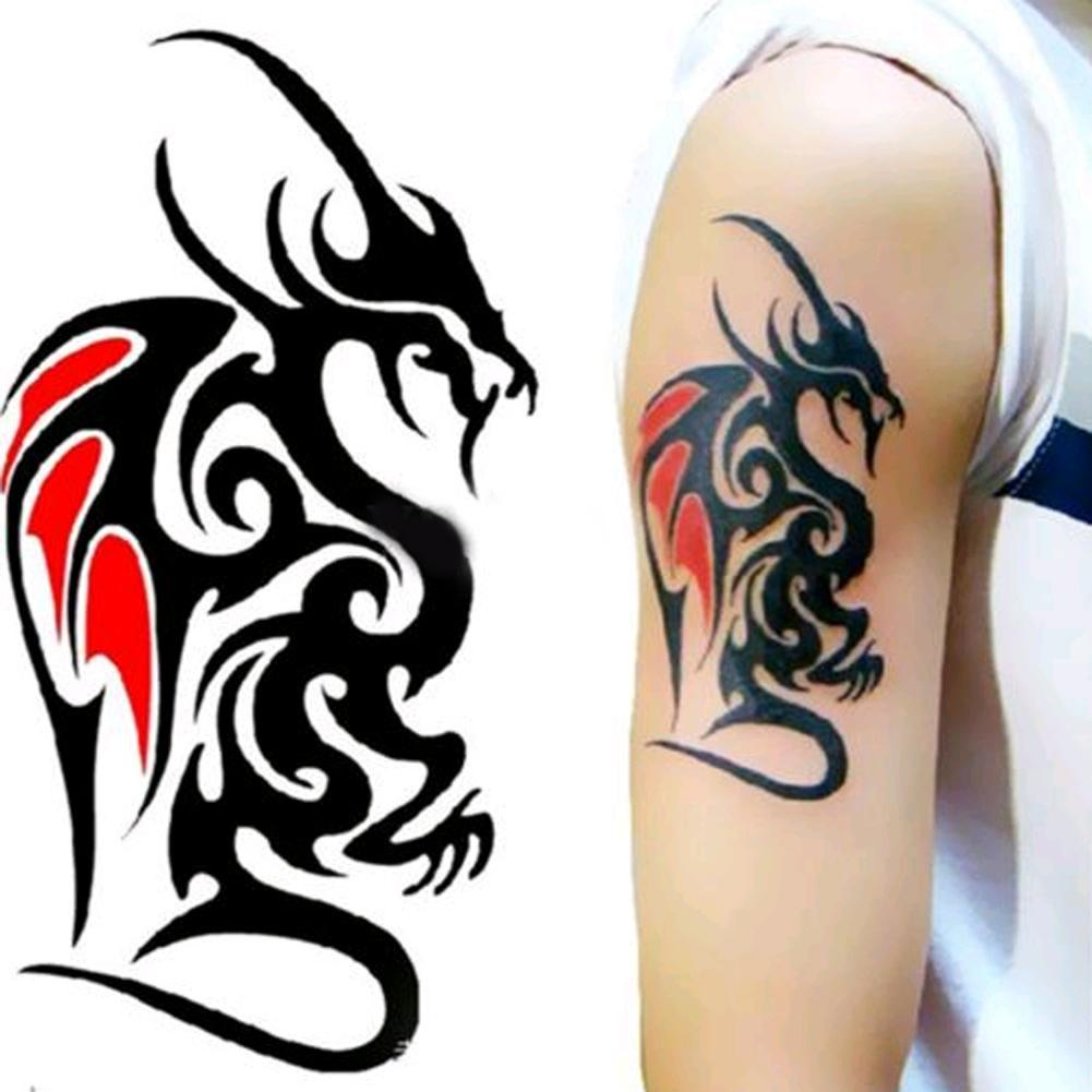 Waterproof temporary tattoo sticker of body 10 56cm cool man dragon tattoo totem water transfer high quality henna temporary tattoos jewelry temporary