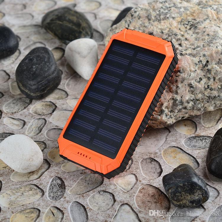 Wholesale -20000mAh Solar Power Bank Charger External Backup Battery With Retail Box For iPhone iPad Samsung Mobile Phone