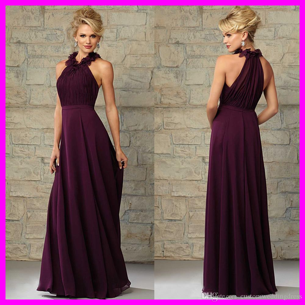 Vestido de madrinha plum chiffon long bridesmaid dress for wedding vestido de madrinha plum chiffon long bridesmaid dress for wedding pleated flowers floor length 2018 vestidos para festa b456m black bridesmaid dresses gold ombrellifo Choice Image