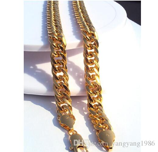 Wholesale - Heavy MENS 24K SOLID GOLD FINISH THICK MIAMI CUBAN LINK NECKLACE CHAIN