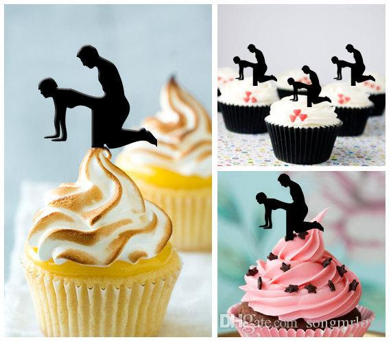 Wholesale sex silhouette cupcake toppers food picks bridal shower see larger image junglespirit Image collections