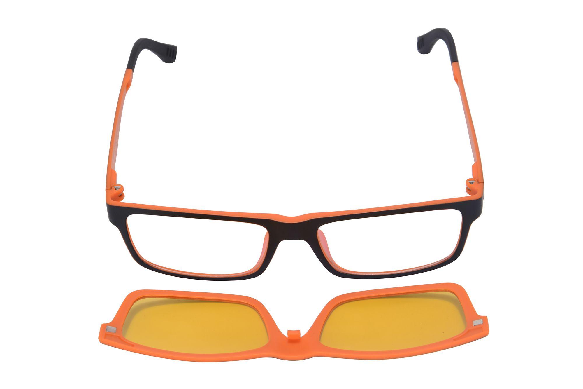 Shinu Orange Frame With Clear Lens Eyeglasses Night Vision Clip On ...