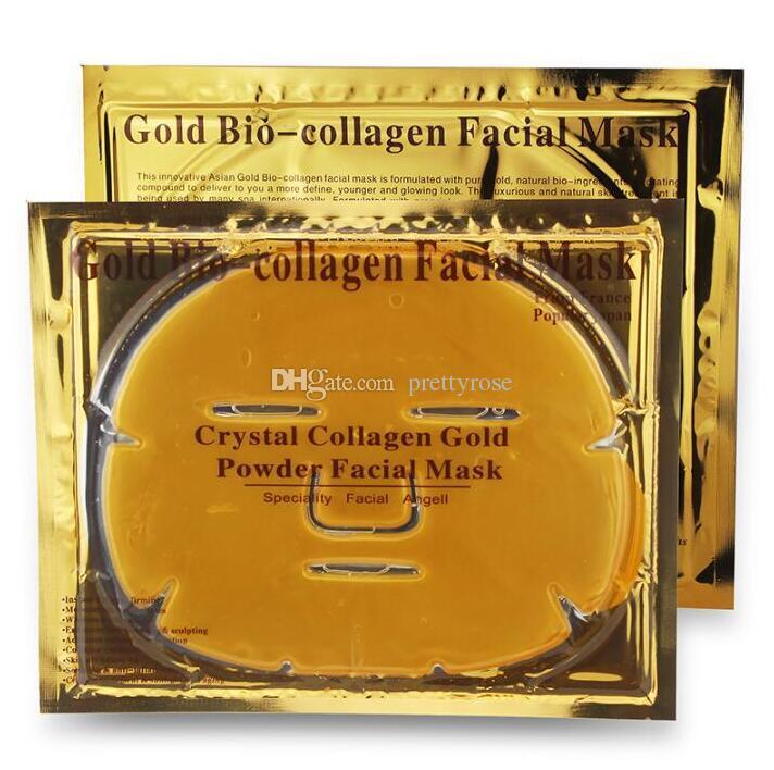 Cura della pelle Maschera il viso al bio-collagene d'oro Maschera il viso in polvere di cristallo d'oro collagene idratante Anti-invecchiamento Maschere in oro 24k Bucce