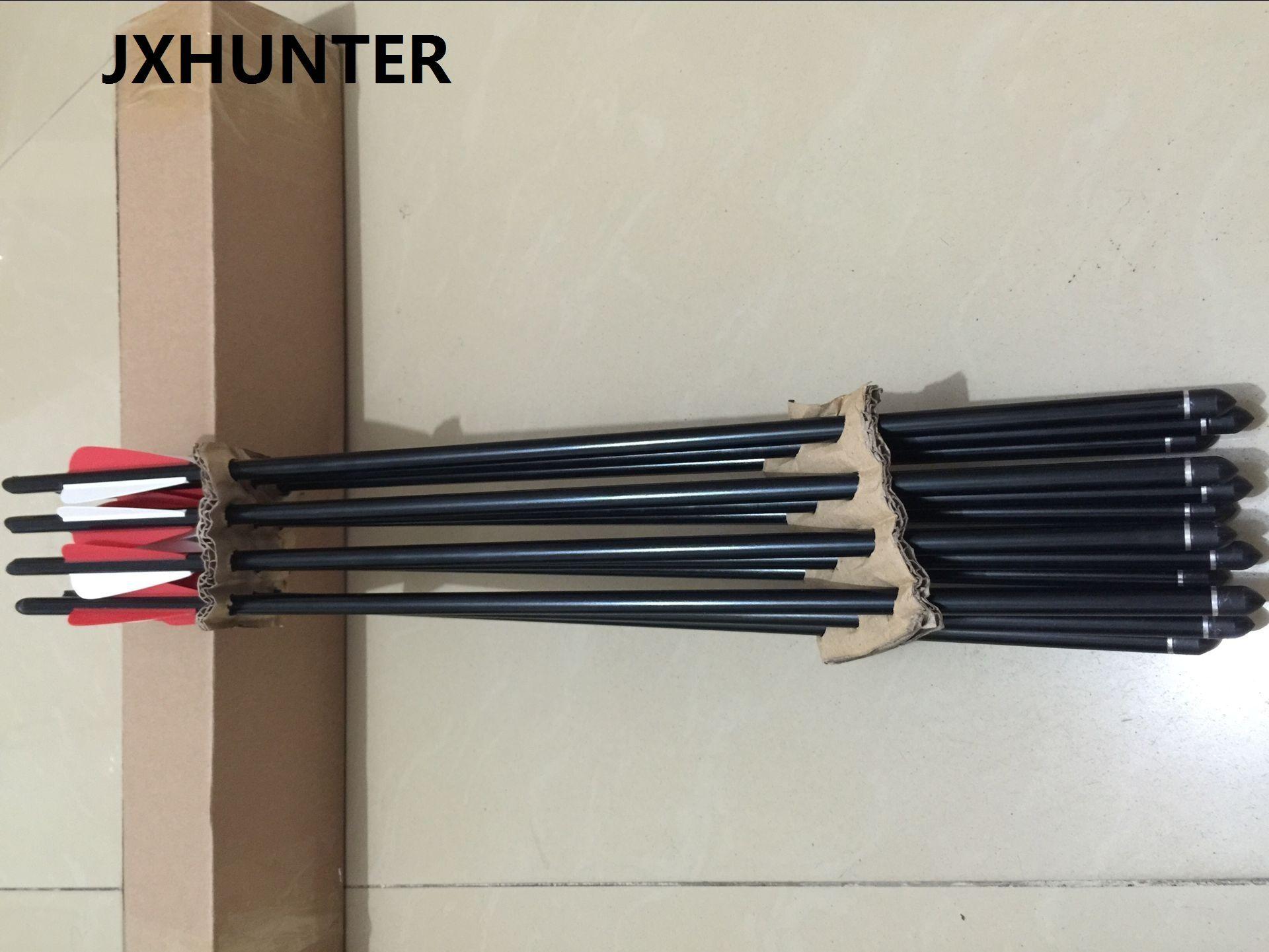 12 peças de tiro com arco flecha de besta seta 20 polegada de alumínio besta flecha parafusos com 100 pontos de alvo de ganho