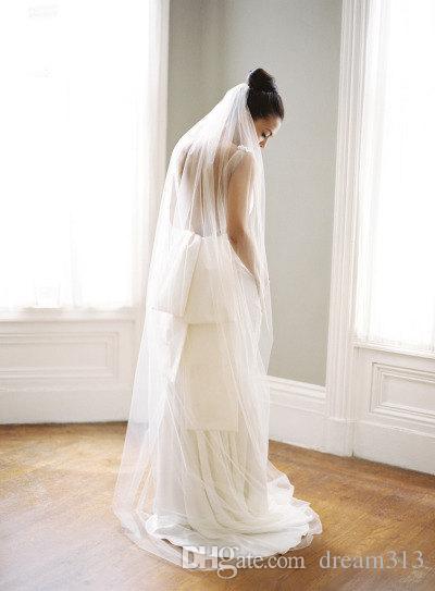 New Top Quality Best Sale For Wedding Dresses Fashion Designer White Ivory ChapelCut Edge Veil Mantilla veil Bridal Head Pieces